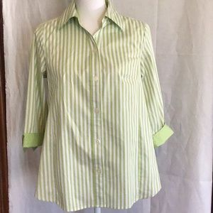 Stretch maternity tops 3/4 sleeves green striped